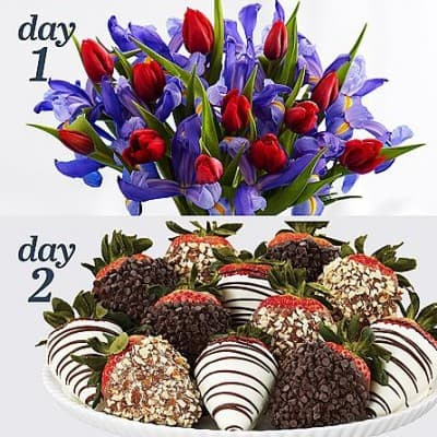 Unique Mother's Day Gift baskets - delight Mom this year with 2 gifts in one - flowers and chocolate covered strawberries!
