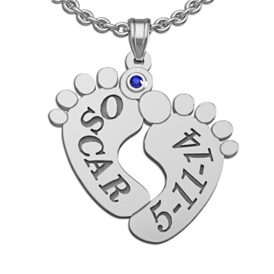 Personalized baby footprints necklace is a sweet gift for any new mom!  Available in silver or gold; features baby's name and birthdate and is accented with the baby's birthstone.