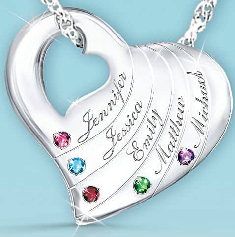Grandma Necklace with Genuine Birthstones and Names