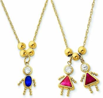14k Gold Kids Birthstone Charm Necklace