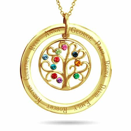 Birthstone Family Tree Necklace with Names
