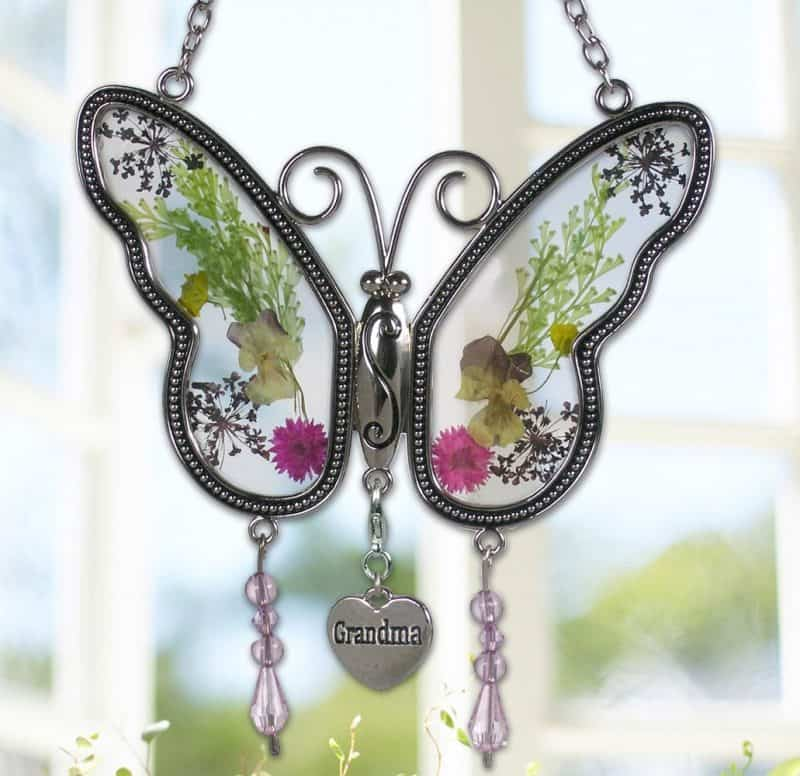 Inexpensive Mother's Day Gifts for Grandma - bright and colorful butterfly suncatcher features real pressed flowers.  Priced at just under $15!