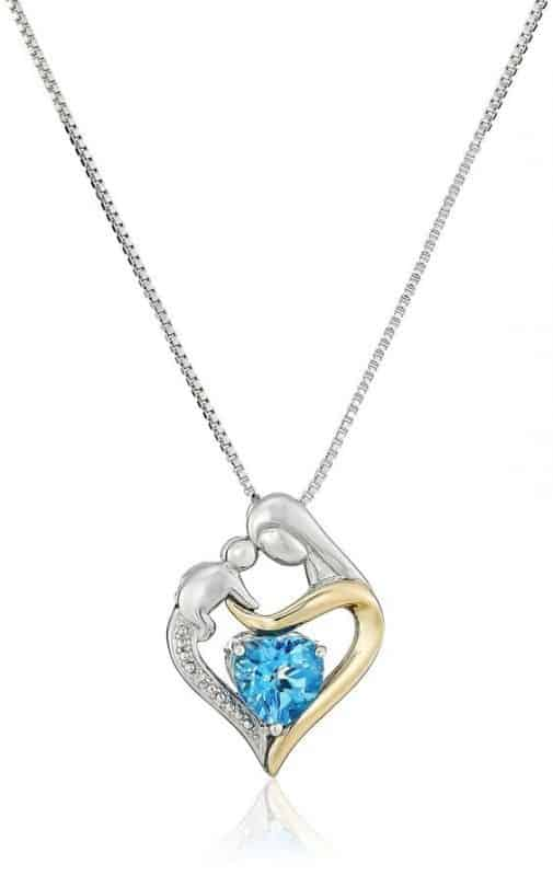 Heart Shaped Mother and Child Necklace with Birthstone