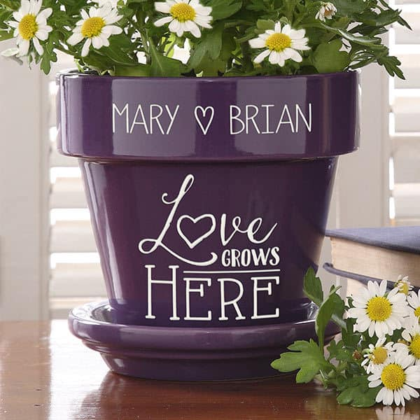 Personalized Love Grows Here Flower Pot - Purple or Red