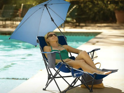 Reclining Travel Chair with Built-in Cooler
