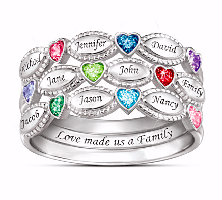 Delight Mom, Grandma or your wife this year with this striking personalized stacking ring set! Choose 2 or 3 rings that are personalized with up to 9 loved one's heart shaped birthstones and names. A gift she'll treasure forever!