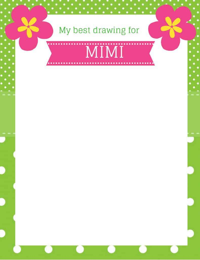 All About Mimi Free Printables - Looking for a cute Mother's Day gift for Mimi from the grandkids?  They can draw a special Mother's Day picture just for Mimi on this colorful paper.  A fun and easy Mother's Day craft for kids!  #mothersday #mothersdaycraft