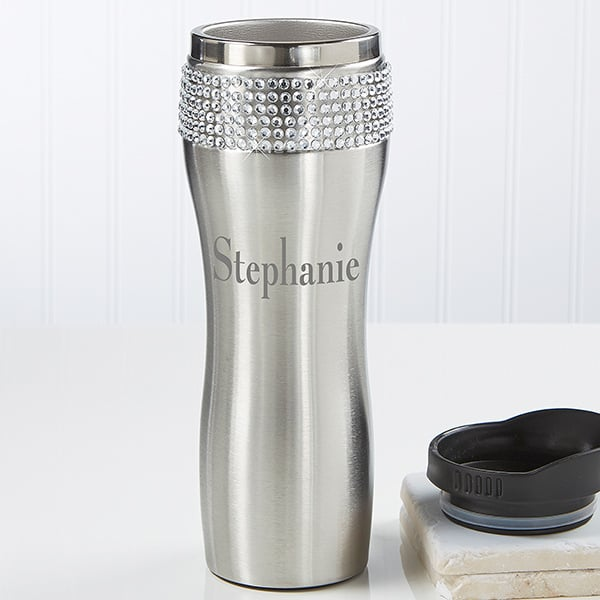 Personalized Stainless Steel Rhinestone Tumbler
