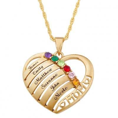 Mom will be so proud to wear this beautiful personalized necklace that shows her love for her children!  Add up to 6 birthstones and names to create a gift she'll love wearing forever.  #mothersdaygift #mothersjewelry #giftsforher