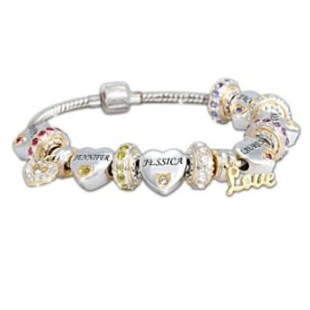 Impress Mom this Mother's Day by giving her a personalized birthstone bracelet with heart charms that feature her loved one's names.