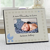 Tan and Blue New Grandbaby Frame