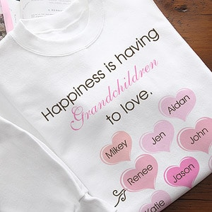 Personalized Happiness Is... Mother's Day Shirt - a fun and affordable present that Mom or Grandma will be proud to wear!