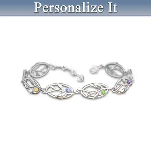 Family Tree Birthstone Bracelet with Names