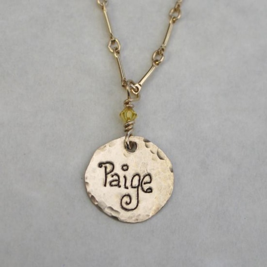 All Gold Name Charm Necklace