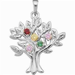 Family Jewelry - 14k White Gold Family Tree Mother's Pendant holds 1-9 3mm birthstones