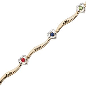 Love the heart-shaped birthstones and curved bars in this elegant mother's birthstone bracelet!