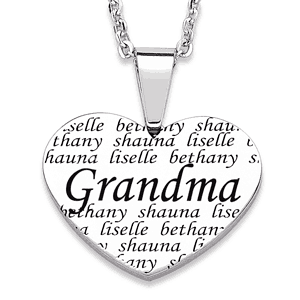 Grandma Heart Necklace with Names