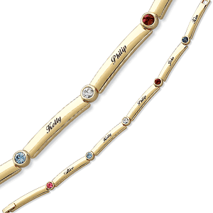 Gold-toned Mother's Birthstone Bracelet with Names