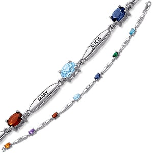 Inexpensive sterling silver mother's bracelet with name - This Mother's Day, treat Mom or Grandma to this sparkling bracelet that features up to 7 names and birthstones of their loved ones.