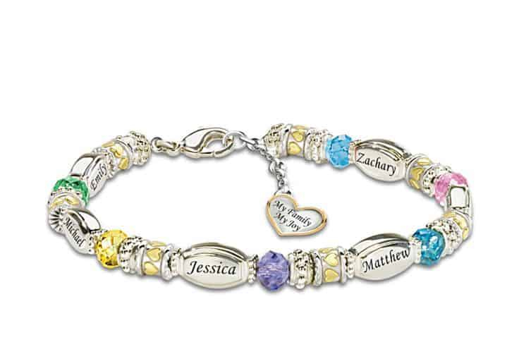 Personalized Mothers Birthstone Bracelet With Names My Family Joy