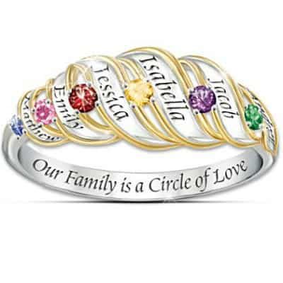 Personalized Mother's Day Birthstone Ring with Names - Love this silver and gold ring with the sweet inscription,