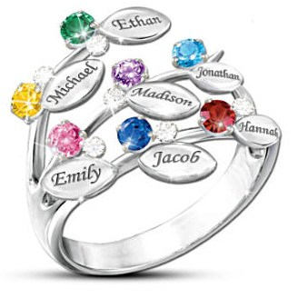 Family Tree Birthstone Ring with Names - Unique Mother's Day ring that is sure to draw loads of compliments!