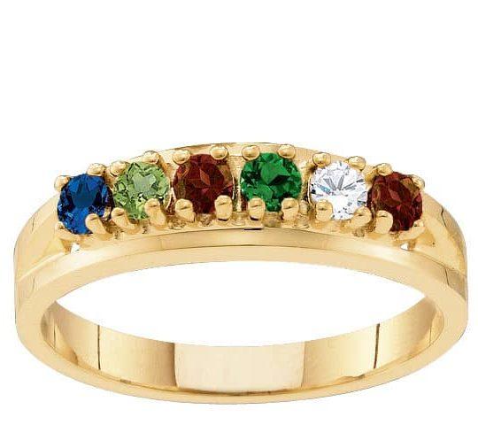 10k Gold Classic Birthstone Family Ring