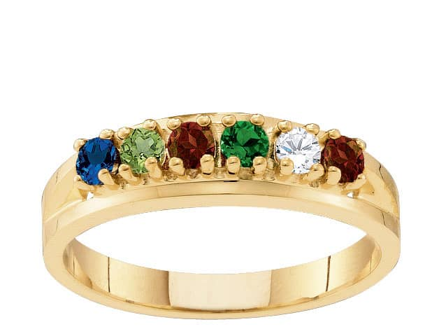 10k Gold Classic Birthstone Family Ring