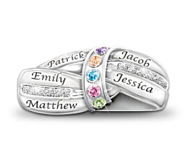 A Mother's Embrace Birthstone Ring - Silver or Gold