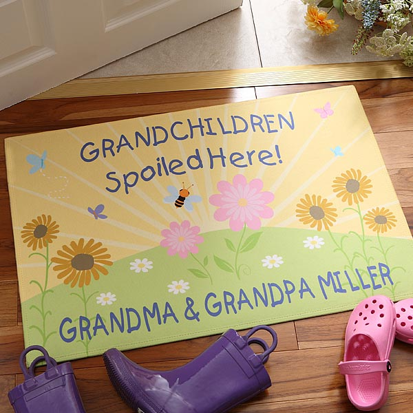 Personalized Doormat – Grandchildren Spoiled Here
