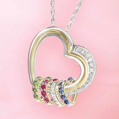 Elegant Mother's day diamond necklace features heart-shaped charms with her loved one's birthstones.