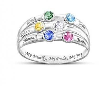 Sterling Silver Mother's Day Ring - Sparkling birthstone ring features her kids' names.  Love the sweet inscription,