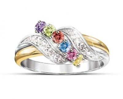 Dazzling two-toned Mother's Day birthstone ring is perfect for the woman who enjoys wearing both gold and silver.