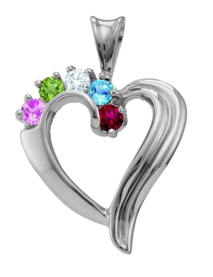 "Beautiful Family"" Heart Necklace in Sterling Silver"
