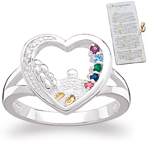 Diamond Baby Faith Birthstone Mothers Ring