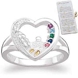 Diamond Baby Faith Birthstone Mothers Ring