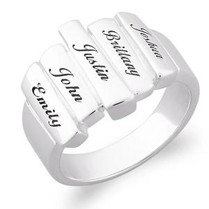 Family Name Bar Ring - Silver or Gold