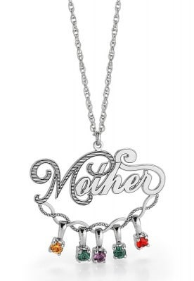 Mother Dangling Birthstones Necklace