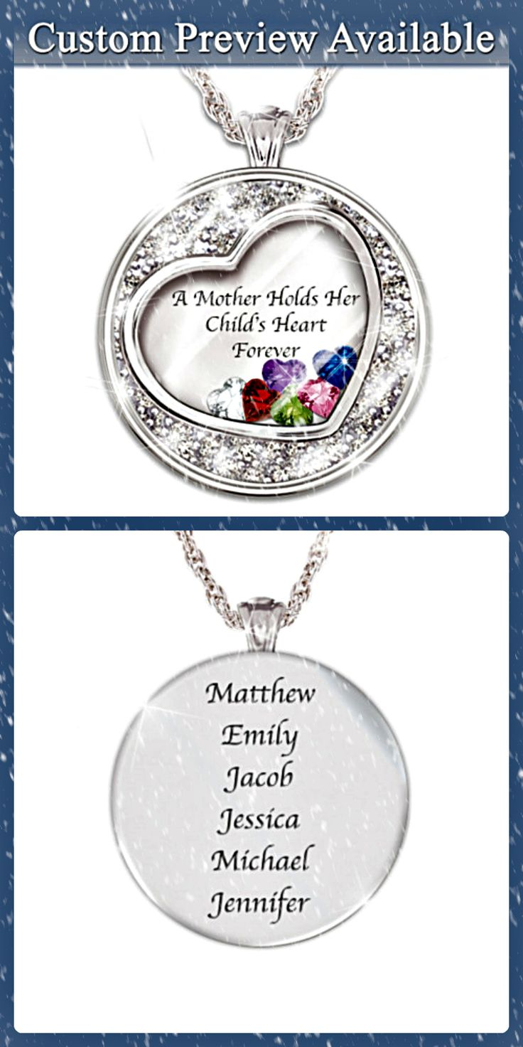 Mothers Day Necklace with Names and Heart Shaped Birthstones - how sweet is this?  Love the