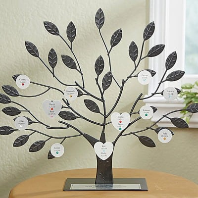 Unique personalized family tree features individual discs for each family member.  A fabulous Mother's Day gift for Mom!