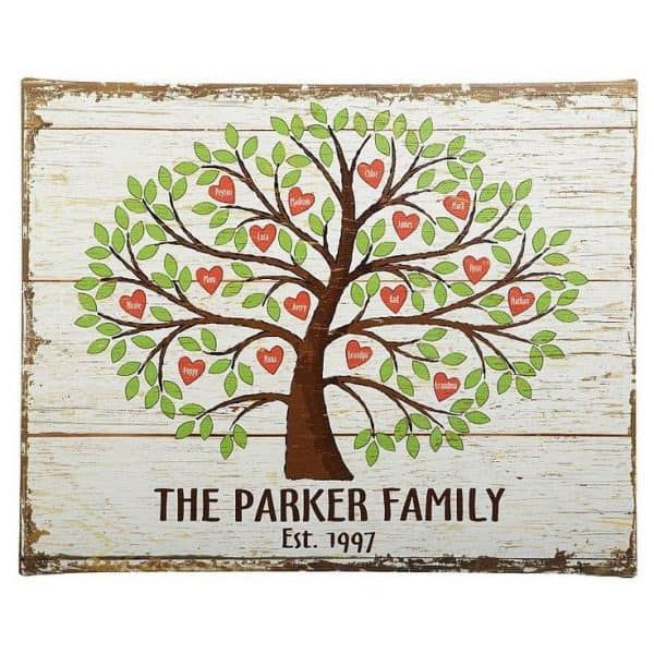 Looking for a personalized Mother's Day gift for Mom or Grandma?  Thrill her with this lovely personalized family tree of hearts canvas!