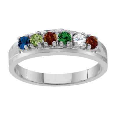 Classic Mother's Day birthstone ring is the perfect choice for the stylish Mom or Grandma.  Choose silver or gold.