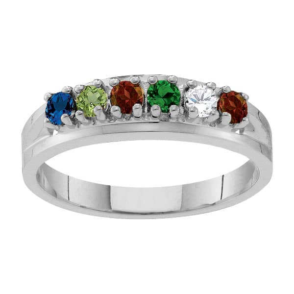Sterling Silver Classic Birthstone Family Ring