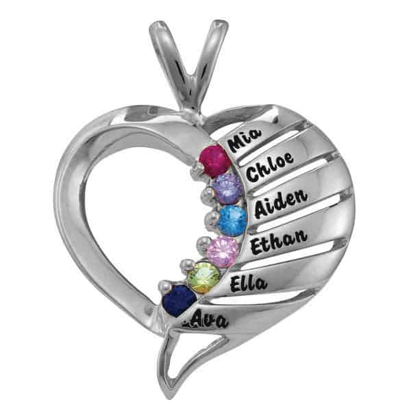 Sterling Silver Multiple Band Heart Necklace - Personalized