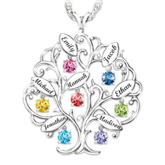 Top Mother's Day Necklaces 2017 - Stunning personalized family tree necklace is sure to thrill Mom or Grandma!