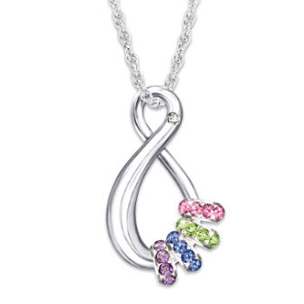 Gorgeous Mother's Day infinity necklace features a diamond at the top, as well as up to 6 birthstone charms to represent each family member.