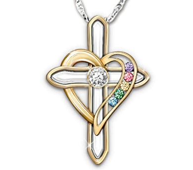 Diamond and Birthstone Cross Necklace for Grandmother