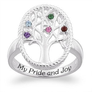 Sterling Silver Family Tree with Birthstones