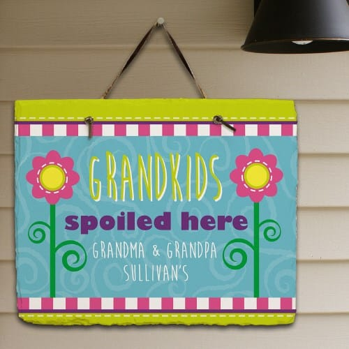 Grandkids Spoiled Here Personalized Slate Plaque