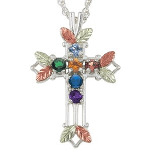 Sterling Silver Black Hills Gold Cross Birthstone Necklace